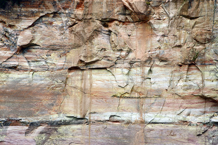 feature wall: Geological feature: layered sandstone rock wall in canyon, Northern Europe.