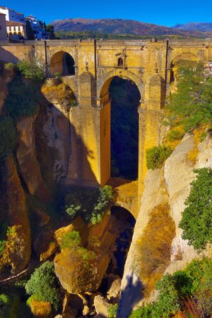 Puente Nuevo, New Bridge (from the end of 18th century)  over 120 metres deep canyon in Ronda, Spain.