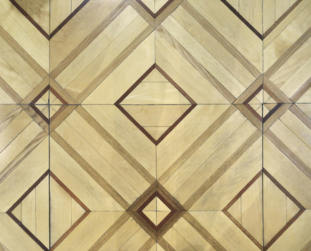 Old Patterned Parquet Floor Made Of Birch And Oak Wood Stock Photo