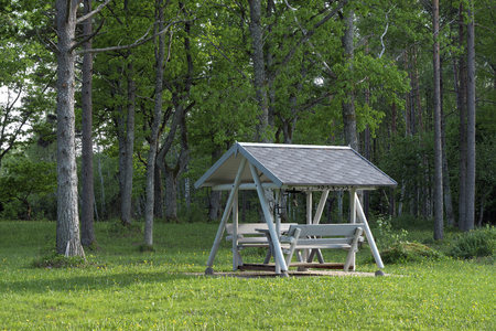 Solid wooden swing with roof as open air sun and rain shelter when barbecuing or grilling. Archivio Fotografico - 104465175