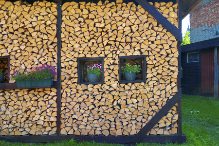 Beautifully stacked firewood in backyard. Imagens