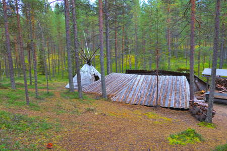 Camping site on hiking trail in Oulanka National Park in Finland.
