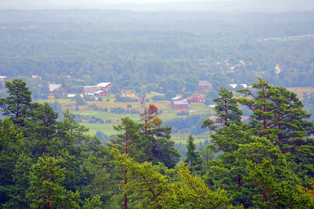 Summer landscape in Aland Islands, view from Geta mountain (Finland). Focus on foreground.