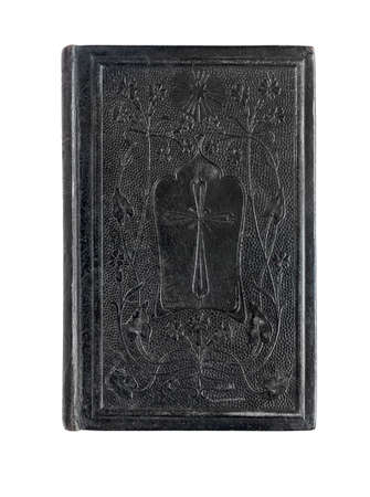 100 years old pocket bible, ornated leather cover, isolated on white.