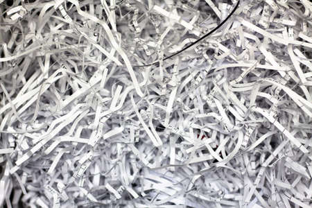 Closeup of Shredded Paper from a paper shredder, Top view