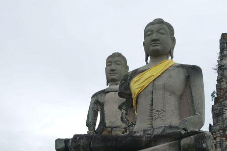 Monuments of buddah, ruins of Ayutthaya old capital of thailand Stock Photo - 7734072