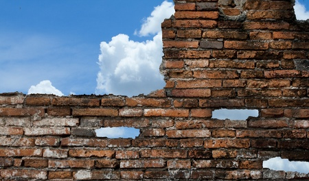 old wall and blue sky with clouds. photo