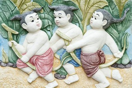 native molding art on wall Stock Photo