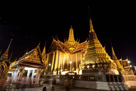 Buddhist temple Grand Palace at night in Bangkok, Thailand