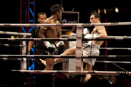 BANGKOK, THAILAND- DEC 18 : Unidentified boxers compete in Thai Fight Final:Muay Thailand World