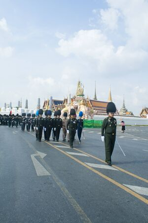 BANGKOK, THAILAND - MARCH 18    Preparing for the royal cremation ceremony of Prince Bejaratana Rajasuda Sirisobhabannavadi  Soldiers of the Sanam Luang, Bangkok Thailand  on march 18,2012  Stock Photo - 12790617