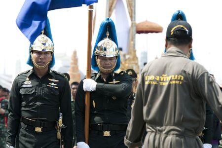 BANGKOK, THAILAND - MARCH 18    Preparing for the royal cremation ceremony of Prince Bejaratana Rajasuda Sirisobhabannavadi  Soldiers of the Sanam Luang, Bangkok Thailand  on march 18,2012  Stock Photo - 12790597