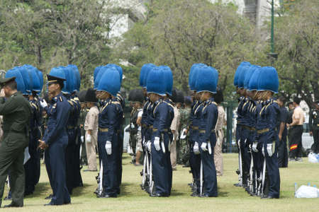 BANGKOK, THAILAND - MARCH 18    Preparing for the royal cremation ceremony of Prince Bejaratana Rajasuda Sirisobhabannavadi  Soldiers of the Sanam Luang, Bangkok Thailand  on march 18,2012  Stock Photo - 12790629