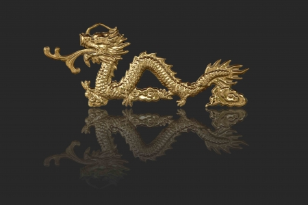 golden dragons in chinese style on black background Stock Photo - 14974785