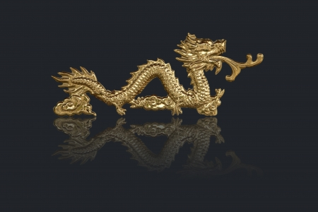 golden dragons in chinese style on black background Stock Photo