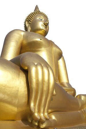 Big Golden Buddha statue on white background Stock Photo - 15499285