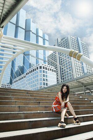Young Thai woman in Bangkok thailand Stock Photo