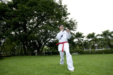 asian man playing with taekwondo photo