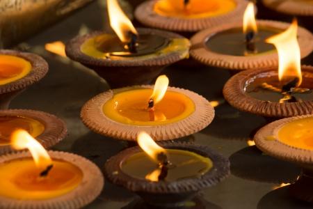 Group of burning candles Stock Photo