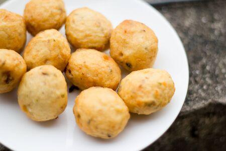 closeup of thai meatballs on white background photo