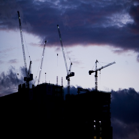 Construction site and cloud storm photo