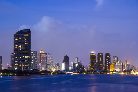 Bangkok city scape at twilight photo