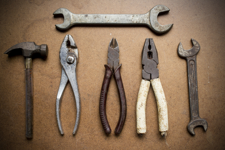 Mechanic tools on wood photo