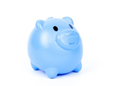 Blue piggy bank on a white background. Archivio Fotografico