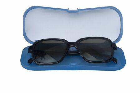 Eyeglasses and plastic box isolated on white background