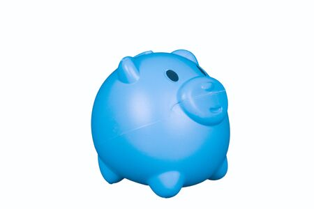 Blue piggy bank on a white background. Stock Photo