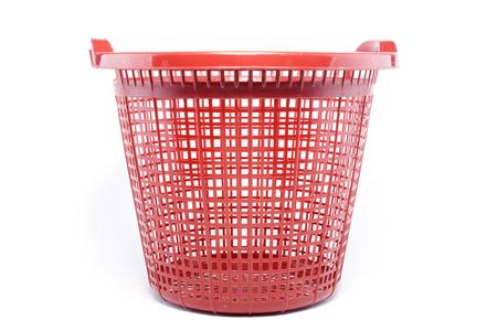 plastic basket on white background Stock Photo - 118104427