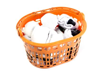 plastic basket on white background Stock Photo - 118104376