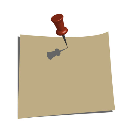Push Pin and a Paper Note Vector