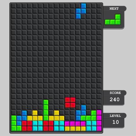 tetris block game interface 向量圖像