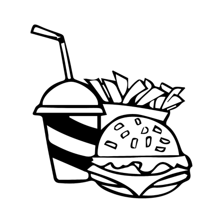 Soft drink with a hamburger and fries Vector
