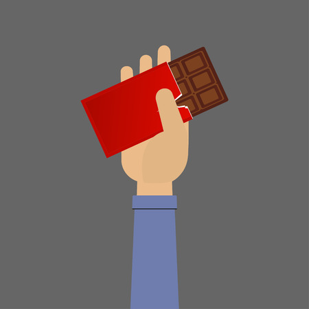 Hand with Chocolate Vector
