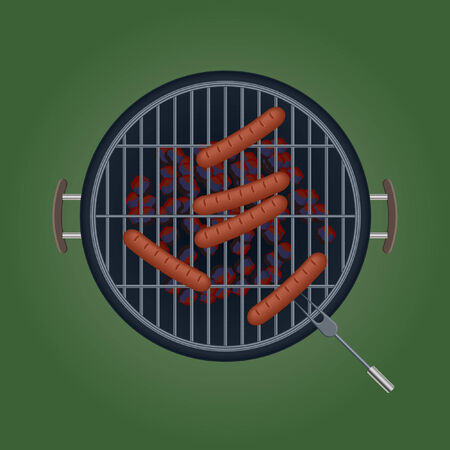 Grilled Sausage,Stove,Fork Vector