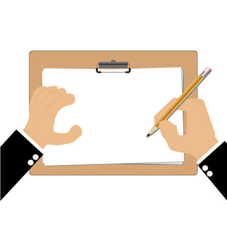 describe: Hand of bussiness man with Clipboard Illustration