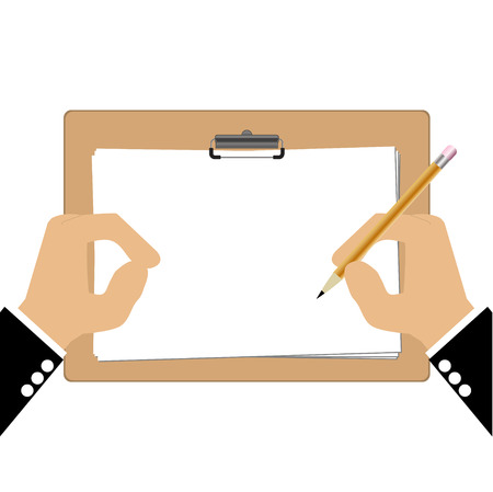 transcribe: Hand of bussiness man with Clipboard Illustration
