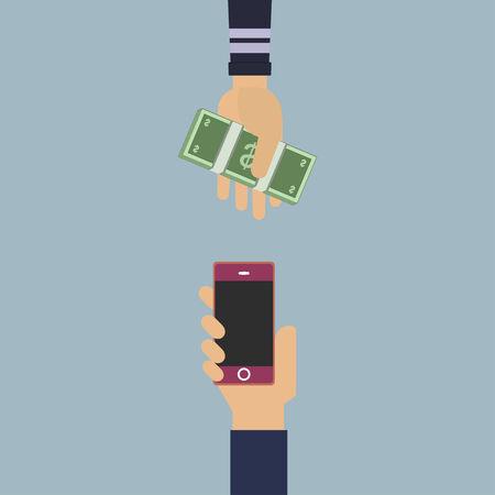smartphone mano: Mano con soldi e smartphone