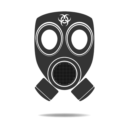 gas mask warning sign: Gas Mask with Biohazard