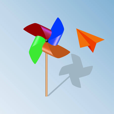 windmill toy: propeller-pinwheel and plane paper