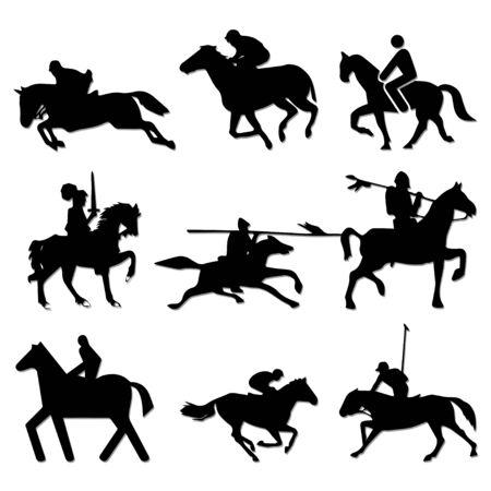 horseman silhouettes Illustration