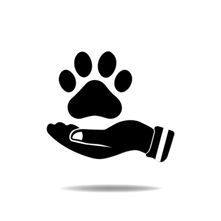 Hand with Paw Print Vector