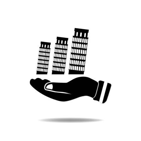 pisa: Hand with Pisa Tower