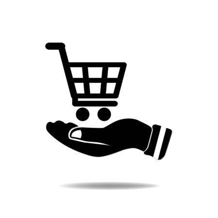 hand cart: Mano con Compras