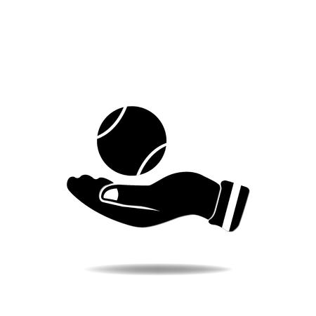 tennisball: Hand with TennisBall Illustration