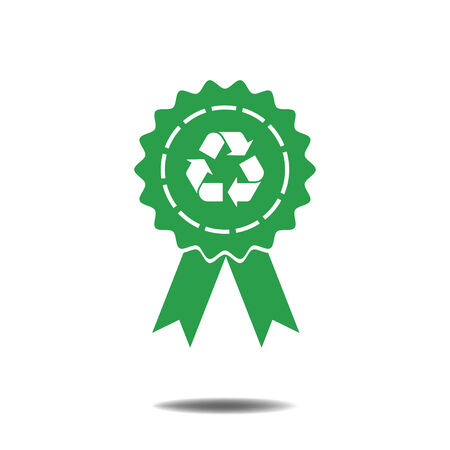 badge ribbons Recycle sign icon Vector