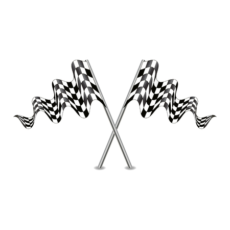 racing checkered flag crossed: Flag-Cross Illustration