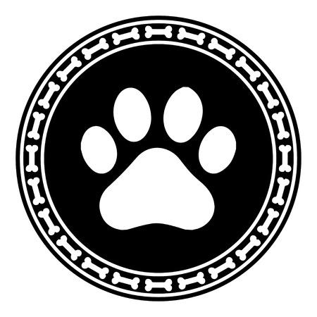Paw Print with Bone dog